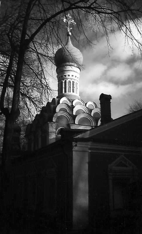 Old cathedral of Donskoy monastery (Moscow). View from the northwest. Photo November 25, 1980.