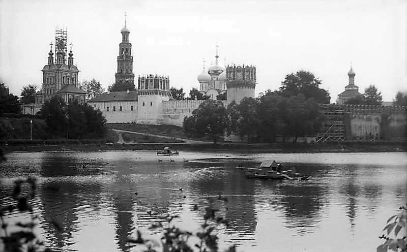 General view of Novodevichy monastery (Moscow) from the northwest. Photo September 6, 1976.