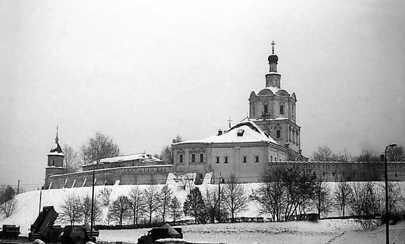 General view of the Andronicus monastery (Moscow) from the west. Photo February 7, 1977.