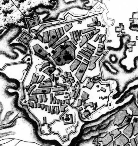 Фрагмент плану Києва 1745 р.