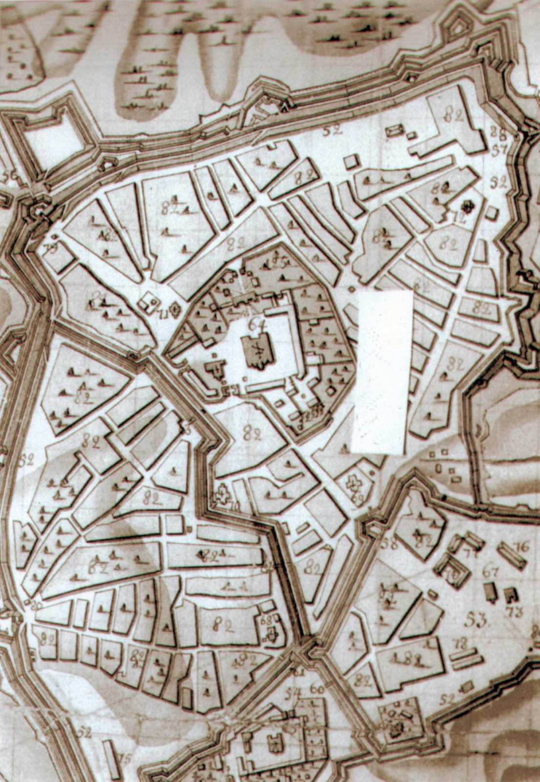 Фрагмент плану Києва 1750 р.