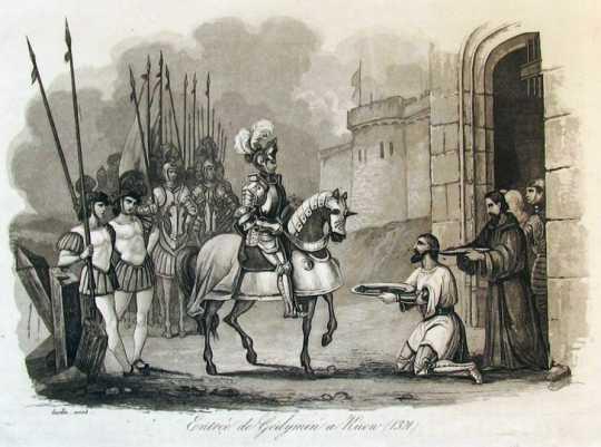 Рисунок міфічного «в'їзду Гедиміна до…