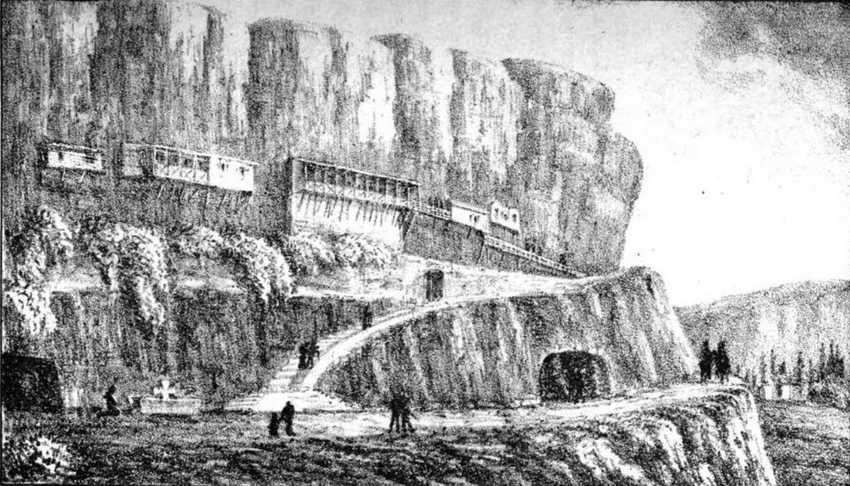 Загальний вигляд Успенської скелі біля Бахчисарая. Гравюра з книги Ш. Монтандона «Путівник для мандрівників по Криму» [Montandon C. H. Guide du…