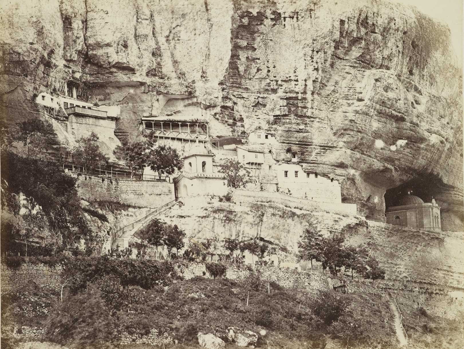 General view of the Assumption monastery near Bakhchisarai. Photos from a trip Prince of Wales [?] in the Crimea in 1869.
