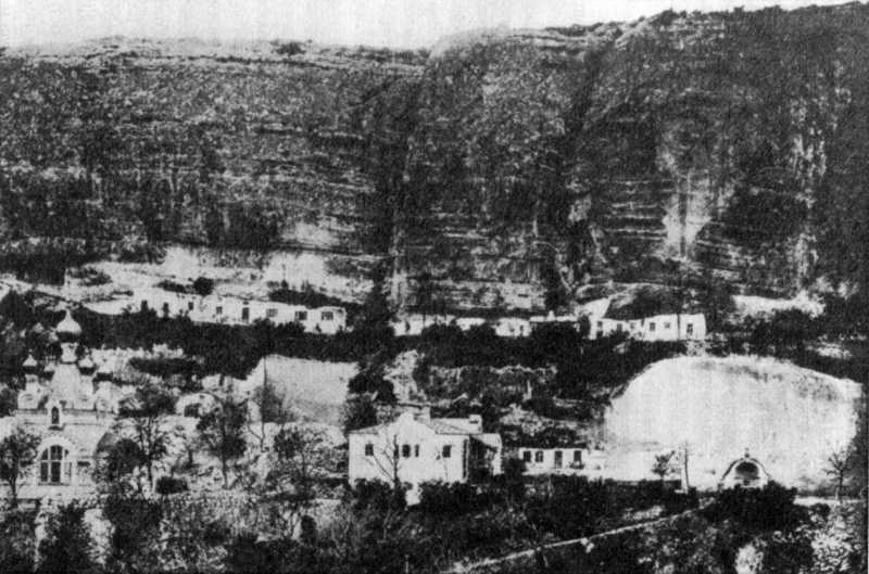 General view of the middle and upper terraces of the Assumption Monastery in Bakhchisarai. Photo from the book by E. Markov «Crimean Essays» [Markov…