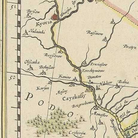 Терехтемирів на карті В.Блау 1638 р.
