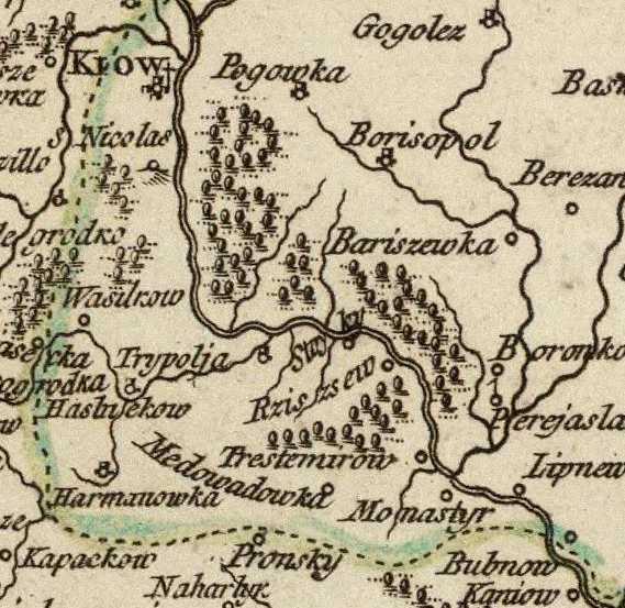 Терехтемирів на карті Д.де Вогенді 1752 р.
